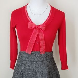 Vintage inspired cherry red ribbon sweater